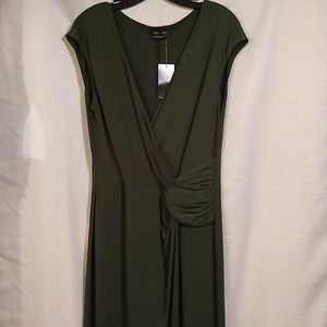 NWT Max & cleo Green Faux Wrap Sleeveless Dress Lg